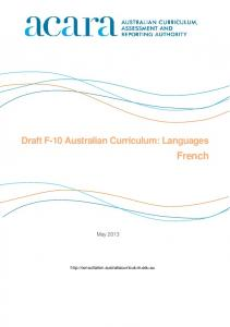 Draft F-10 Australian Curriculum: Languages. French. May