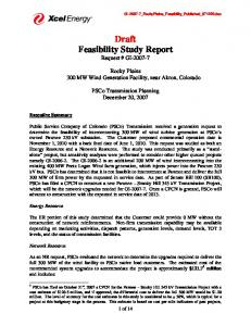 Draft Feasibility Study Report Request # GI