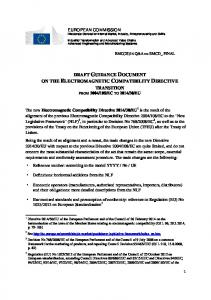 DRAFT GUIDANCE DOCUMENT ON THE ELECTROMAGNETIC COMPATIBILITY DIRECTIVE TRANSITION