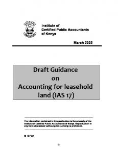 Draft Guidance on Accounting for leasehold land (IAS 17)
