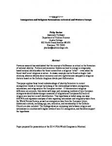 ***DRAFT*** Immigration and Religious Nationalism in Central and Western Europe