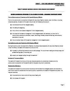 DRAFT MINOR WORKS ORDER DISCUSSION DOCUMENT