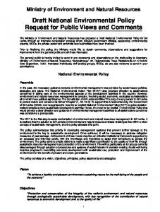 Draft National Environmental Policy Request for Public Views and Comments