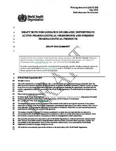 DRAFT NOTE FOR GUIDANCE ON ORGANIC IMPURITIES IN ACTIVE PHARMACEUTICAL INGREDIENTS AND FINISHED PHARMACEUTICAL PRODUCTS
