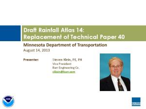 Draft Rainfall Atlas 14: Replacement of Technical Paper 40