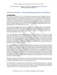 Draft Scope of Services UTA Program Management Services Consultant