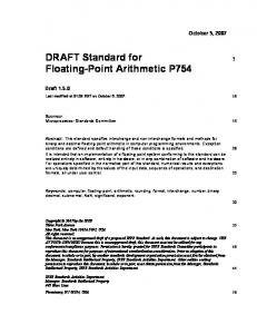DRAFT Standard for Floating-Point Arithmetic P754