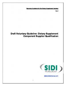 Draft Voluntary Guideline: Dietary Supplement Component Supplier Qualification