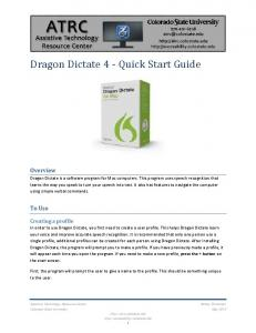 Dragon Dictate 4 - Quick Start Guide