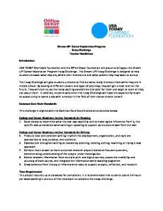 Dream UP! Career Exploration Program Essay Challenge Teacher Guidelines