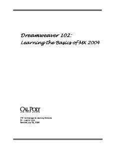 Dreamweaver 102: Learning the Basics of MX 2004