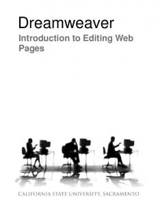 Dreamweaver. Introduction to Editing Web Pages