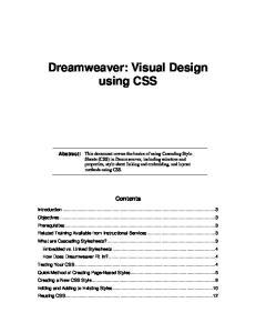 Dreamweaver: Visual Design using CSS