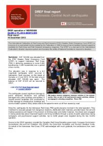 DREF final report Indonesia: Central Aceh earthquake