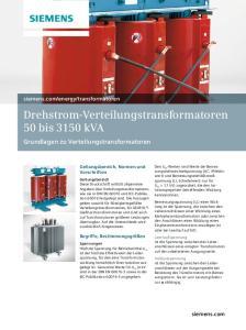 Drehstrom-Verteilungstransformatoren 50 bis 3150 kva