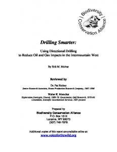 Drilling Smarter: By Erik M. Molvar. Reviewed by. Dr. Pat Rickey Senior Research Associate, Exxon Production Research Company,