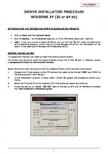 DRIVER INSTALLATION PROCEDURE WINDOWS XP (32 or 64 bit)