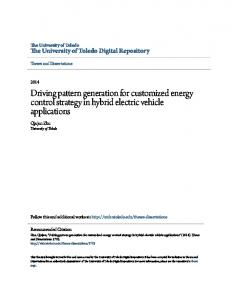 Driving pattern generation for customized energy control strategy in hybrid electric vehicle applications