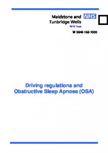 Driving regulations and Obstructive Sleep Apnoea (OSA)