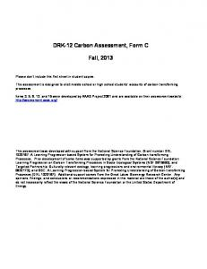 DRK-12 Carbon Assessment, Form C. Fall, 2013