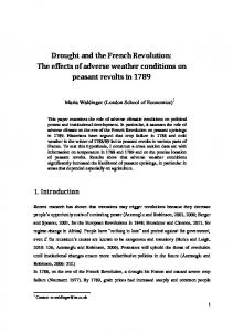 Drought and the French Revolution: The effects of adverse weather conditions on peasant revolts in 1789