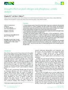 Drought effect on plant nitrogen and phosphorus: a metaanalysis