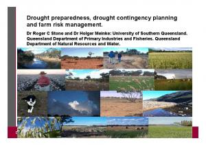 Drought preparedness, drought contingency planning and farm risk management