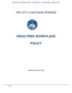DRUG FREE WORKPLACE POLICY