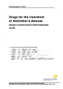 Drugs for the treatment of Alzheimer's disease
