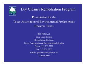 Dry Cleaner Remediation Program