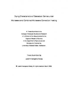 Drying Characteristics of Saskatoon Berries under. Microwave and Combined Microwave-Convection Heating