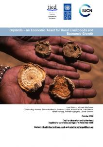 Drylands an Economic Asset for Rural Livelihoods and Economic Growth