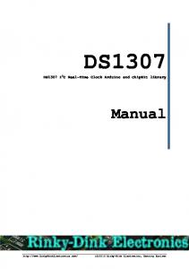 DS1307. DS1307 I 2 C Real-Time Clock Arduino and chipkit library. Manual