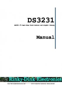 DS3231. DS3231 I 2 C Real-Time Clock Arduino and chipkit library. Manual