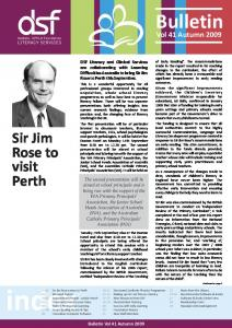 DSF Literacy and Clinical Services are collaborating with Learning Difficulties Australia to bring Sir Jim Rose to Perth this September