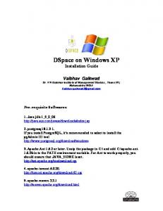 DSpace on Windows XP Installation Guide