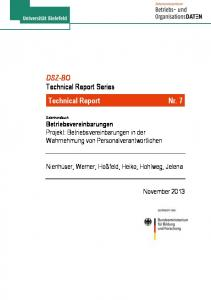 DSZ-BO Technical Report Series Technical Report Nr. 7