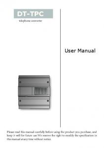 DT-TPC. User Manual. telephone converter