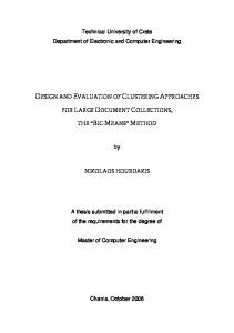 DTESIGNT AND EVALUATION OF CLUSTERING APPROACHES
