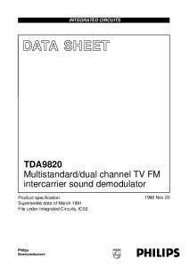 dual channel TV FM intercarrier sound demodulator INTEGRATED CIRCUITS Nov 20