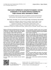 Dual source multidetector computed tomography coronary angiography in the surgical planning regarding the major coronary artery anomalies in children
