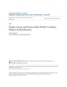 Ducks, Geese, and Swans of the World: Contents, Preface, & Introduction