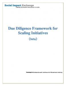 Due Diligence Framework for Scaling Initiatives (beta)