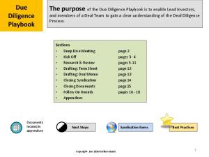Due Diligence Playbook