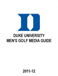 DUKE UNIVERSITY MEN S GOLF MEDIA GUIDE