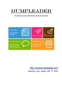 DumpLeader.  Advance your career with IT Cert! Ensure Success with Money back Guarantee