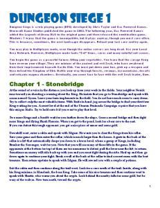 Dungeon Siege 1. Chapter 1 - Stonebridge