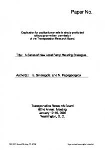 Duplication for publication or sale is strictly prohibited without prior written permission of the Transportation Research Board