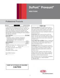 DuPont Provaunt. Professional Products CAUTION INSECTICIDE