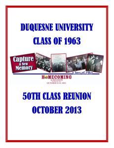 DUQUESNE UNIVERSITY CLASS OF 1963